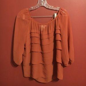🌷5for$15! Rust Balloon Sleeve Chiffon Top